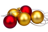 Golden and red Christmas balls — Stock Photo