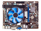 Electronic collection - Computer motherboard with CPU cooler — Foto Stock