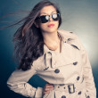 Beautiful woman in the raincoat and sunglasses - Stock Photo