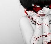 Beautiful vampire woman — Stock Photo