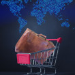 Shopping cart with suitcase and map — Stock Photo