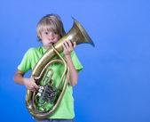 Boy Blowing Trumpet — Stock Photo