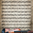 Viola on sheet music background — Stock Photo