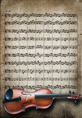 Viola sobre fondo de partituras — Foto de Stock