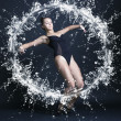 Gymnast woman in a ring of water. — Stock Photo