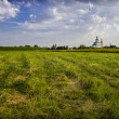 Landscape with the Russian church — Stock Photo