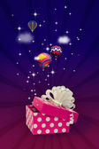 Gift box with air balloons — Stock Photo