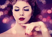 Girl with Red Lips and Nails — Stock Photo