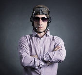Businessman wearing helmet — Stock Photo