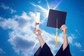 Graduation Caps and diploma — Stock Photo