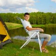 Man at the campsite — Stock Photo