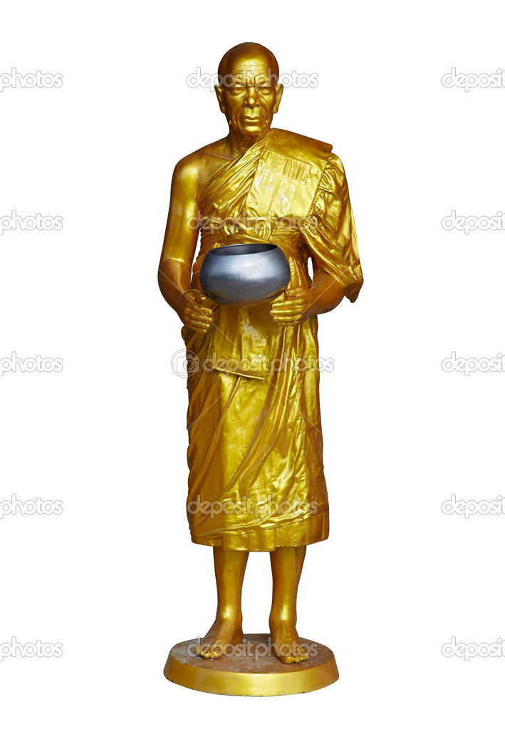 Isolated shot of golden statue of buddhist monk standing with steel bowl — Stock Photo #12600941