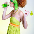 Girl with green beer — Stock Photo #1461469