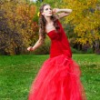 A beautiful brunette in red dress — Stock Photo #16890533