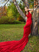 A beautiful brunette in red dress — Stock Photo