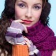 Woman in winter dress - Stock Photo