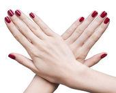 Hände mit roten maniküre — Stockfoto