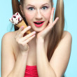 Young woman with ice cream — Stock Photo