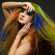 Long-haired curly redhead woman - Stockfoto