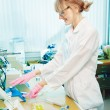 Stock Photo: Womscientist in laboratory