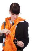 Girl in stewardess uniform — Stock Photo