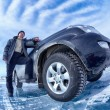 Car on ice — Stock Photo