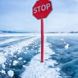 Stop traffic sign on Baikal — Stockfoto