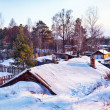 Siberian village at winter - Stock Photo