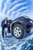 Car on ice — Stock Photo