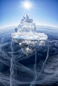 Ice ship on winter Baical — Stock Photo