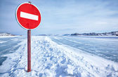 Traffic sign on Baikal ice — Stock Photo