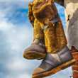 Unty - traditional high fur boots — Stock Photo