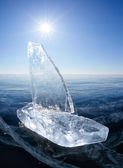 Ice yacht on winter Baical — Stock Photo