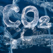 Icy chemical formulof carbon dioxide CO2 — Stock Photo #31164835