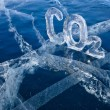 Icy chemical formula of carbon dioxide CO2 — ストック写真
