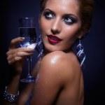 Shining woman face makeup — Stock Photo