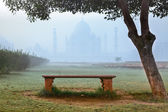 Taj Mahal in morning fog — Stock Photo