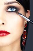 Close-up shot of woman eye makeup — Stock Photo