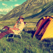 Stock Photo: Tourist in camp