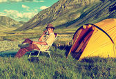 Tourist in camp — Stock Photo