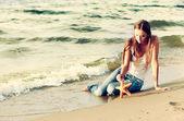 Beautiful girl on beach — Stock Photo