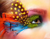 Woman with fashion feather eyelashes make-up — Stock Photo