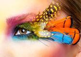 Woman with false feather eyelashes makeup — Stock Photo