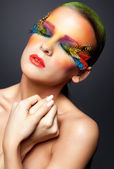 Woman with false feather eyelashes makeup — Stockfoto