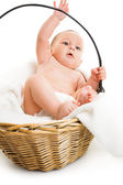 Boy in basket — Stock Photo