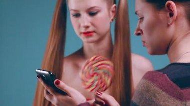 Beauty girl with big sweet — Stock Video