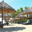 Tropical beach with straw umbrella and chairs — Stok video