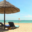 Tropical beach with straw umbrella and chairs — Vídeo de stock