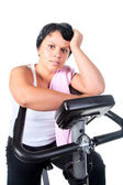Fitness for fat woman — Stock Photo