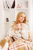 Girl with coffe cup — Stock Photo